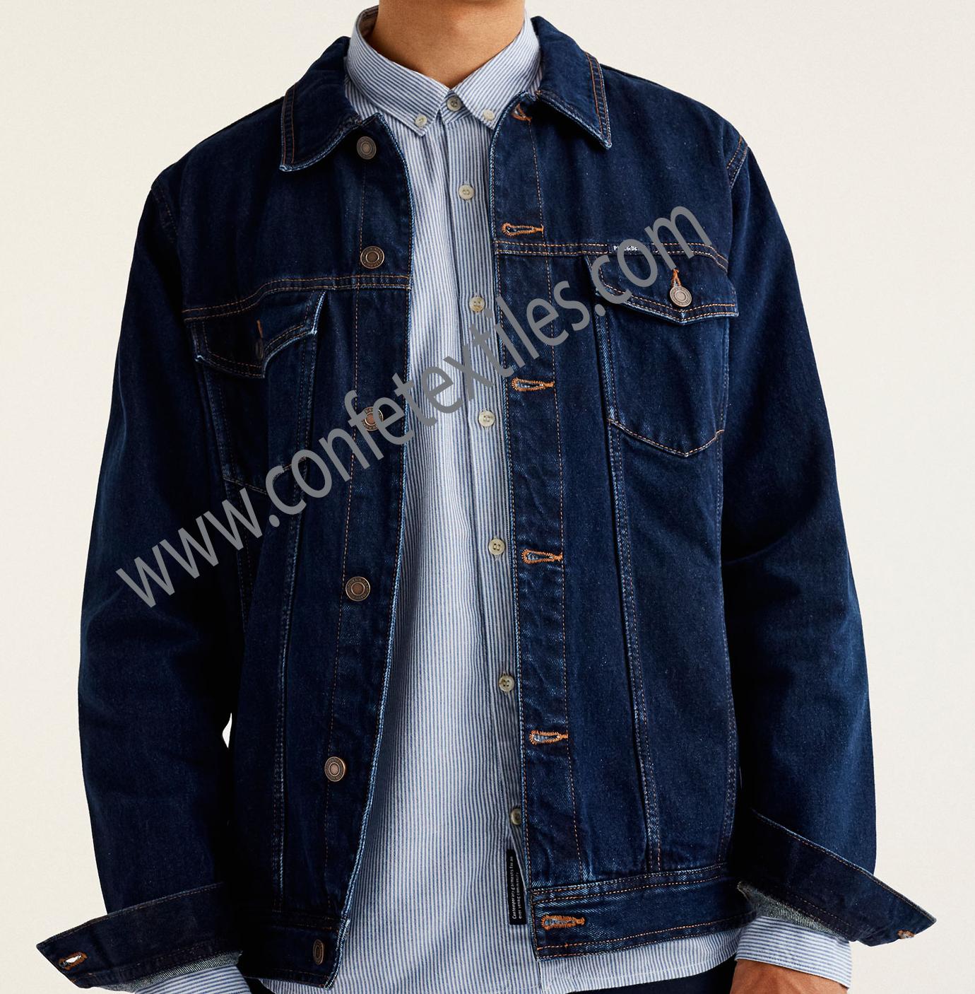 casaca de jean 14 onzas azul